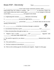 Brain POP - Electricity Worksheet