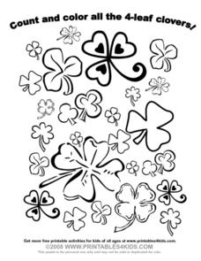 Count and Color all the 4 leaf clovers Worksheet