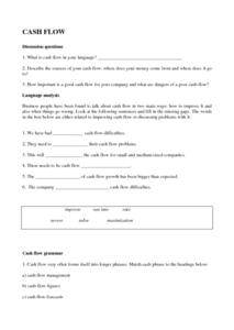 Cash Flow Worksheet Worksheet