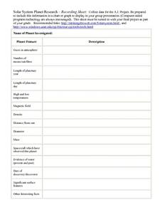 Solar System Planet Research Worksheet