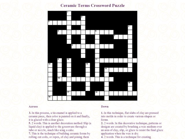Ceramic Terms Crossword Ceramic Terms Crossword Puzzle