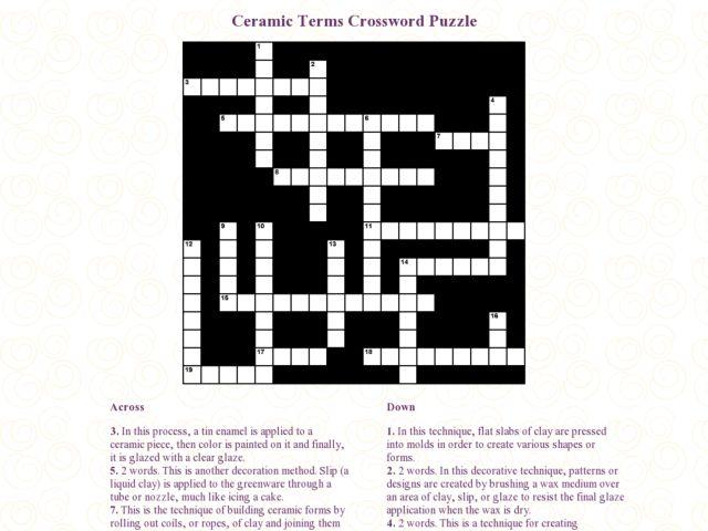 Ceramic Terms Crossword Ceramic Terms Crossword Puzzle