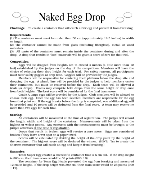 English Worksheet Egg Drop Experiment