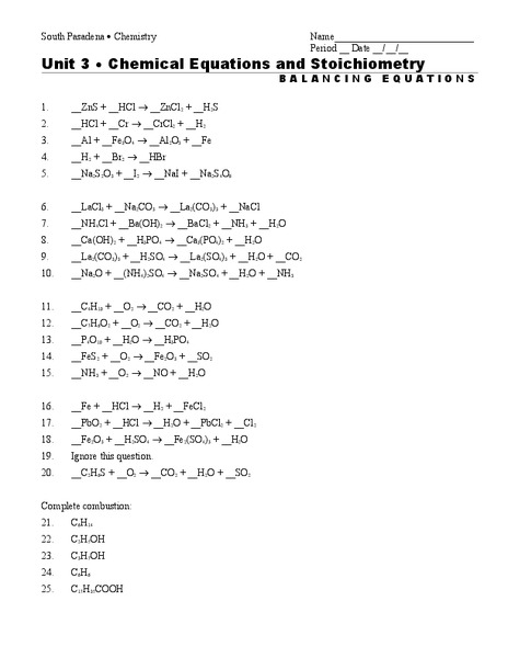 Chemical Equations And Stoichiometry Worksheet For 9th