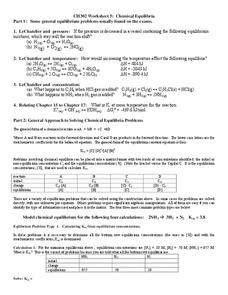 Chemical Equilibria Worksheet
