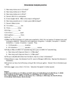 Dimensional Analysis Practice Worksheet For 6th 8th Grade Lesson