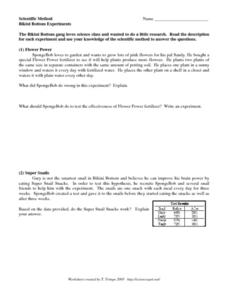 Bikini Bottom Experiments Worksheet