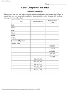 Color, Computers, and Math - Student Worksheet #2 Lesson Plan