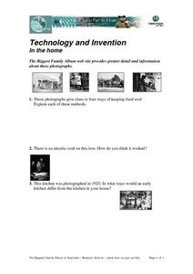 Technology and Invention in the Home Worksheet