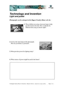 Technology and Invention Light and Power Worksheet