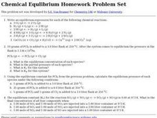 Chemical Equilibrium Homework Problem Set Worksheet