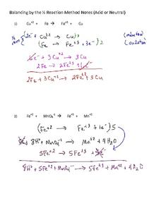 Balancing by the 1⁄2 Reaction Method Notes (Acid or Neutral) Worksheet