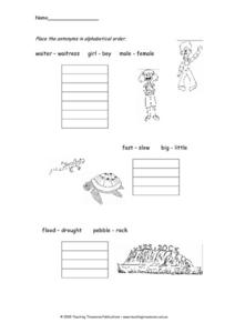 Antonyms in Alphabetical Order Worksheet