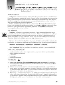 A Survey of Plankton Communities Worksheet