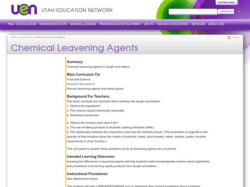 Chemical Leavening Agents Lesson Plan