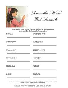 SAMANTHA'S WORLD WORD SCRAMBLE Worksheet