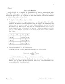 Balance Point Worksheet