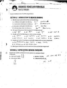 Chemical Names and Formulas Worksheet