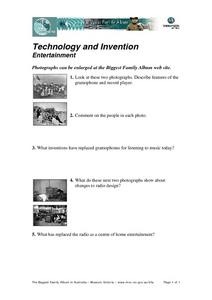 Technology and Invention in Entertainment Worksheet