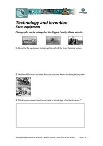 Technology and Invention Farm Equipment Worksheet
