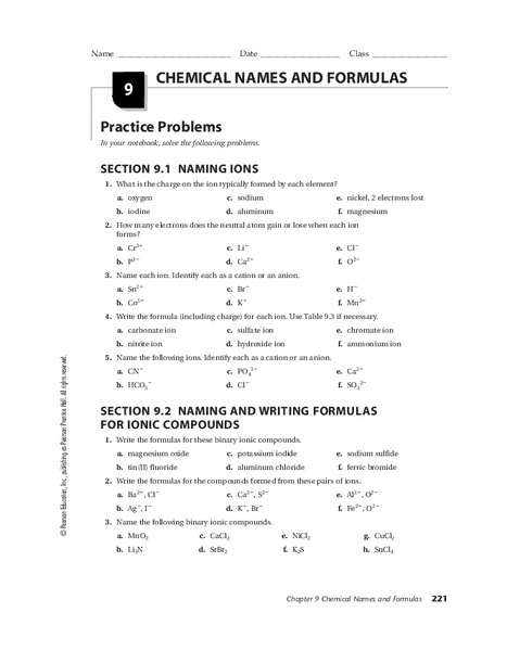 Chemical Names And Formulas Worksheet For 10th 12th Grade Lesson