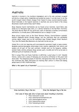 Australia: Reading Passage Worksheet