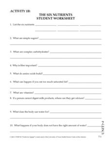 The Six Nutrients Student Worksheet Worksheet