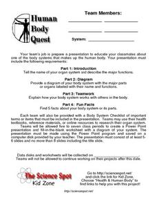 Human Body Quest Worksheet