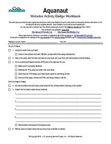 Aquanaut: Webelos Activity Badge Workbook Worksheet