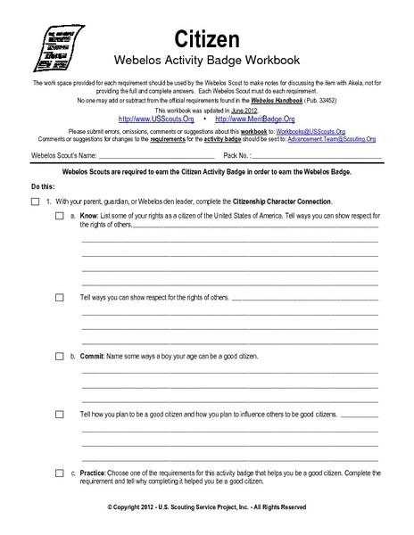 Citizen Webelos Activity Worksheet For 5th Grade Lesson