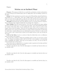 Motion on an Inclined Plane Worksheet
