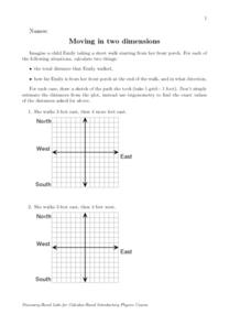 MOVING IN TWO DIMENSIONS (GRAPHING) Worksheet