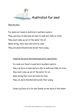 Australian Fur Seal Worksheet