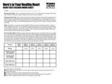 Here's to Your Healthy Heart: Heart Rate Record Work Sheet Worksheet