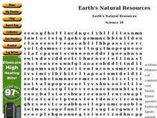 Earth's Natural Resources Worksheet