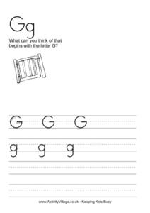 Gg: WHAT CAN YOU THINK OF THAT BEGINS WITH THE LETTER G? Worksheet