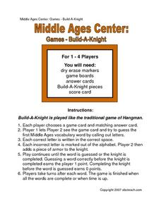 Middle Ages Center: Games--Build-A-Knight Worksheet