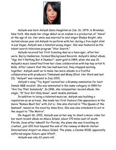 Aaliyah Biography Lesson Plan