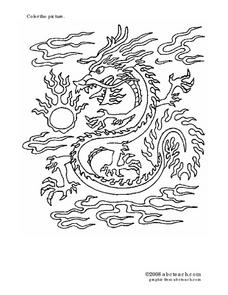 Color the Picture: Chinese Dragon Worksheet