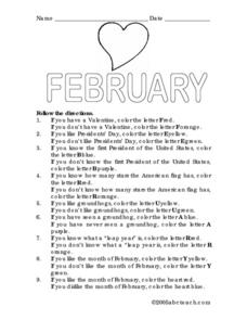 February Following Directions Wordsheet Lesson Plan