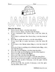 January: Following Directions Worksheet