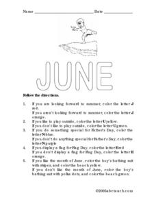 Follow the Directions: June Worksheet