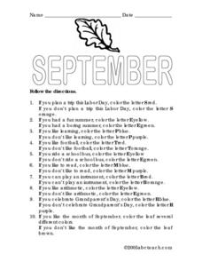September Following Directions Activity Lesson Plan