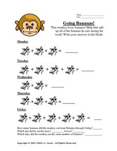 Going Bananas: Addition and Graphing Worksheet