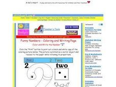 Funny Numbers; Coloring And Writing Page: the Number 2 Worksheet