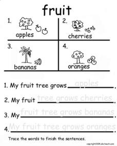 Fruit Tracing Worksheet