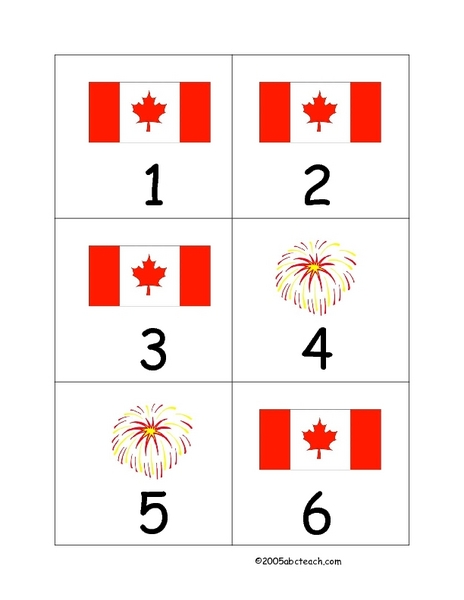 Canadian Flags And Fireworks Worksheet