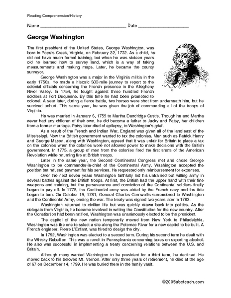 Reading Comprehension/history: George Washington 5th - 6th Grade ...