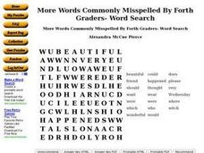 More Words Commonly Misspelled By Fourth Graders- Word Search Worksheet