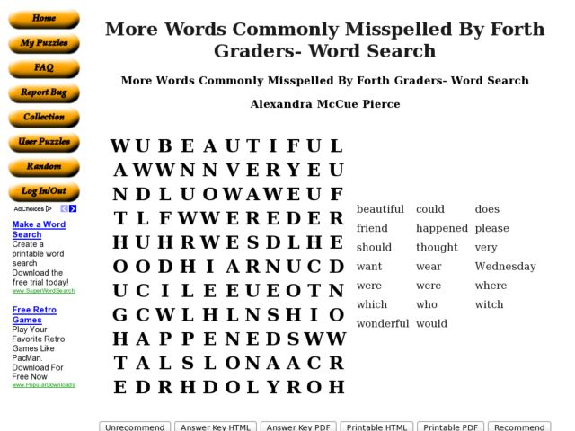 More Words Commonly Misspelled By Fourth Graders- Word